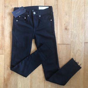 Rag & Bone Black Ankle Skinny Jeans Raw Hem NWT-25